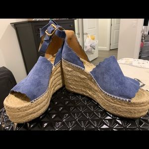 Chloe Lauren Wedge Espadrille in Cobalt blue